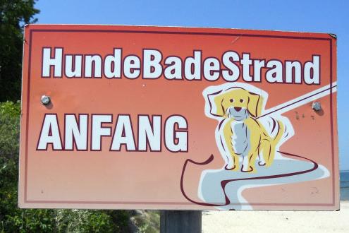 Hundestrand Ostsee Schild mit Hund